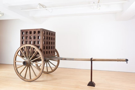 """Martin Puryear, """"The Load,"""" 2012. Wood, steel, glass, 91 x 185 x 74"""". Courtesy of McKee Gallery."""