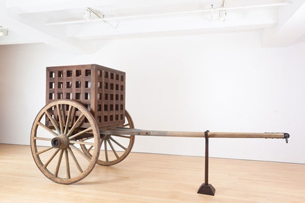 "Martin Puryear, ""The Load,"" 2012. Wood, steel, glass, 91 x 185 x 74"". Courtesy of McKee Gallery."