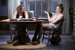 (L-R): Amy Brenneman as Catherine and Virginia Kull as Avery in a scene from the Playwrights Horizon production of <i>Rapture, Blister, Burn</i>. Photo: Carol Rosegg.