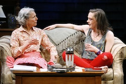 (L-R): Beth Dixon as Alice and Virginia Kull as Avery in a scene from the Playwrights Horizon production of Rapture, Blister, Burn. Photo: Carol Rosegg.