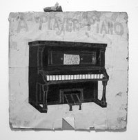 "Gayleen Aiken, ""A Player Piano #3"" (n.d.). Mixed media and collage on cardboard, 10"