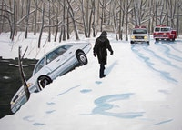 "Richard Bosman, ""Ice Storm, 60"" (2006). Oil on canvas, 60"