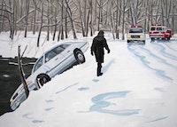 "Richard Bosman, ""Ice Storm, 60"" (2006). Oil on canvas, 60"