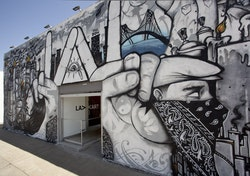 """Slanguage,"" 2012. Facade mural. Courtesy of the artist and LAXART, Los Angeles. Photo: Brian Forrest."