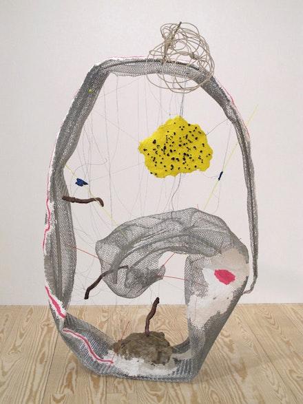 "Michelle Segre, ""Once Upon a Time the End,"" 2011. Metal, acrylic, papier-mâché, clay, thread, wire, plastacine, plastic, rocks. 59.5 x 38 x 41""."