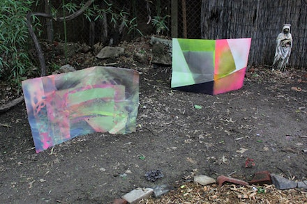 "Alyse Ronayne, Installation view of ""Moon Math"" and ""Untitled (DomeMath),"" 2012. Spray Paint, Cellophane, Aluminum."