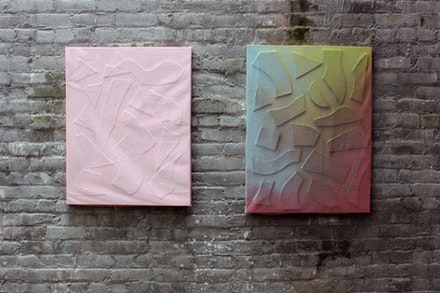 "E. E. Ikeler ""Mesh Mediation"" and ""Mesh Mediation (Rainbow)"" 2012. Enamel, Spray Paint, Canvas, Wood, Mesh on Panel."