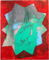 "Regina Bogat ""Decagon 4"" acrylic, India ink on canvas."