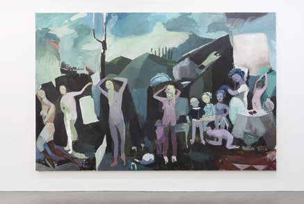 """Helen Verhoeven, """"Blue Thing (Naked Lunch),"""" 2010. Acrylic on canvas. 94.5 x 118"""". Courtesy the artist and Wallspace, New York."""