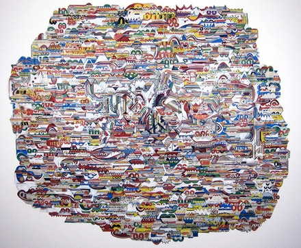 "Jung ah Kim, untitled, 33.5"" x 29"", color pencil, graphite on grocery store coupon collage, 2009. Courtesy the artist."