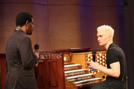 Cameron Carpenter and WQXR host Terrance McKnight. Photo: Matthew Septimus.