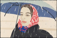 "Alex Katz, ""Blue Umbrella,"" 1979 – 80. Lithograph. Graphische Sammlung Albertina, Vienna. Photograph (c) Albertina, Vienna; Peter Ertl. Art (c) 2011 Alex Katz/Licensed by VAGA, New York, NY. Courtesy Museum of Fine Arts, Boston."