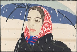 "Alex Katz, ""Blue Umbrella,"" 1979 – 80. Lithograph. Graphische Sammlung Albertina, Vienna. Photograph (c) Albertina, Vienna; Peter Ertl. Art (c) 2011 Alex Katz/Licensed by VAGA, New York, NY. Courtesy Museum of Fine Arts, Boston."