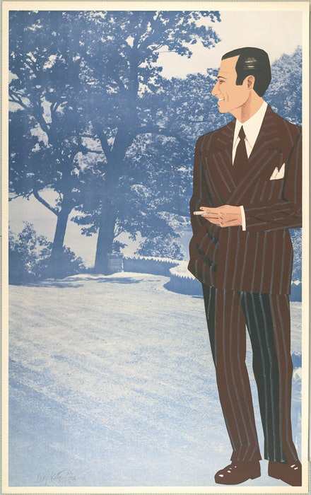 "Alex Katz, ""Alex at Cheat Lake,"" 1969. Lithograph (figure) and photo-offset lithograph (background), printed in seven colors. Graphische Sammlung Albertina, Vienna. (c) 2012 Alex Katz/Licensed by VAGA, New York, NY. Courtesy Museum of Fine Arts, Boston."
