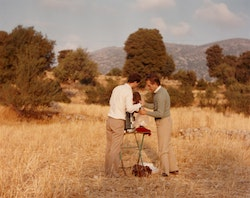 Robert Beavers and Gregory Markopoulos at the Temenos site.  Photo: Temenos Archive.