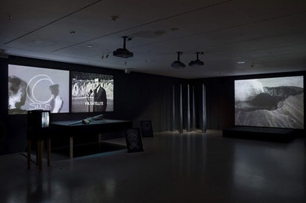 Joan Jonas, <em>Mirage</em>, 1976/2005. Six videos (black and white, sound and silent), props, stages, photographs, Duration variable. Collection the Museum of Modern Art; Gift of Richard J. Massey, Clarissa Alcock Bronfman, Agnes Gund, and Committee on Media Funds. 62.2009.a-hh