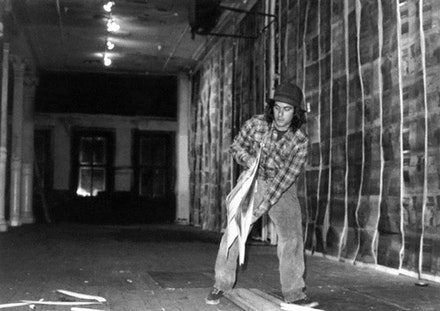 Gordon Matta-Clark installing Walls paper (1972) in 112 Greene Street, New York Photography by Cosmos Andrew Sarchiapone, 19 of 66.