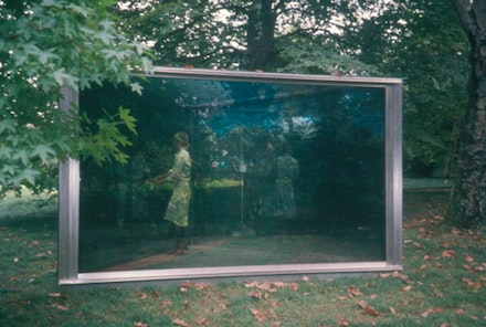 Dan Graham, Porto, Serralves (Double Exposure), 1995, 2002. Two-way mirror, color cibachrome transparency, and stainless steel. 7 1/2 x 13 1/8 x 13 1/8. Collection Fundacao de Serralves Contemporary Art Museum, Porto, Portugal. Installation in Porto, Portugal. Courtesy Marian Goodman Gallery.