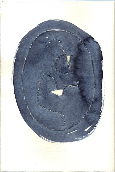 "Elena Berriolo, 8 1/2 x 11"", sewing machine and watercolor, 2012. Taken from 16-page book Another Transcription from Lucio Fontana by Elena Berriolo."