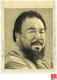 Portrait of Ai Wei Wei. Pencil on paper by Phong Bui.