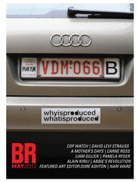 "Liam Gillick, ""What is Produced,"" 2011. Bumper sticker. More-publishers, Brussels. Image courtesy of the artist and Casey Kaplan, NY. Photo: Tim Ryckaert."