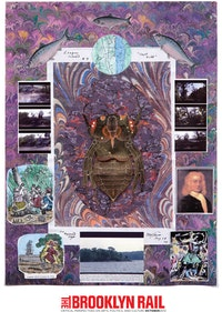 "Peter Lamborn Wilson, ""Esopus Island #4 (Captain Kidd),"" 2009. Mixed media and collage on board."