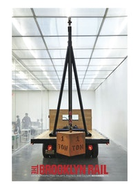 Chris Burden, &#147;1 Ton Crane Truck&#148; (2009). Restored 1964 f350 ford crane truck with one-ton cast-iron weight. Dimensions: truck and weight: 14 ft (h: tip of crane to ground)&#8232;&times; 22 ft 10 in (l: front of truck to back of weight) &times; 8 ft (w: width of back of truck) / (4.2 &times; 6.9 &times; 2.4 m); one-ton weight: 20 &times; 20 &times; 20 in (50.8 &times; 50.8 &times; 50.8 cm). Total weight: 9,000 lbs total. Courtesy the artist and Gagosian Gallery. <em>Chris Burden: Extreme Measures</em> at New Museum, New York, 2013. Courtesy New Museum, New York. Photo: Benoit Pailley.