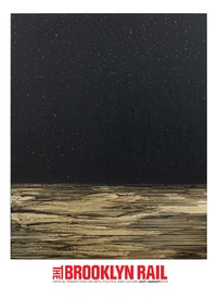 "Teresita Fernández. ""Golden (Onyx Sky),â€� 2013. Gold chroming and India ink on wood panel. 80 × 64 ̋. Courtesy the artist and Lehmann Maupin, New York and Hong Kong. Photo: Elisabeth Bernstein."