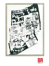 Allan McCollum. <em>Untitled (Blown-up Newspaper Print)</em>, 1968. Acrylic paint on canvas. 82 x 59 inches. Courtesy Petzel Gallery, New York.