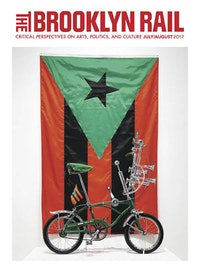 Miguel Luciano, <em>Run-a-Bout</em>, 2017, Puerto Rican Flag in Red, Black and Green, 2017 (Photo: Chaz Langley)