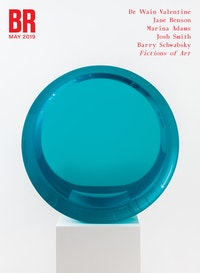 De Wain Valentine, <em>Concave Circle Blue Green</em>, 1968 &ndash; 2017. Cast polyester resin, 23 1/2 x 23 1/2 x 9 7/8 inches. &copy; De Wain Valentine. Courtesy the artist and Almine Rech. Photo: Melissa Castro Duarte.