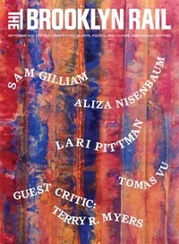 Sam Gilliam, <em>Untitled</em> (detail), 2019. Watercolor and acrylic on washi paper, 75 3/4 x 41 1/2 inches. Courtesy the artist and David Kordansky Gallery, Los Angeles.