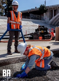 Image of construction crew working on <em>Bending the River Back Into the City</em>, 2020. Courtesy Lauren Bon and the Metabolic Studio, Los Angeles. Photo: Joshua White.