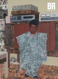 Njideka Akunyili Crosby, <em>&ldquo;The Beautyful Ones&rdquo; Series #8</em>, 2018. Acrylic, color pencil, and transfers on paper, 59 7/8 x 42 inches. Courtesy the artist. Photo: Angus Mill.