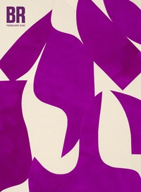 Sarah Crowner, <em>Rising Violets</em>, 2020. Acrylic on canvas, sewn, 92 x 65 inches. Courtesy the artist and Casey Kaplan, New York.