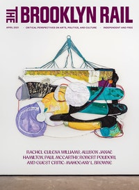 Rachel Eulena Williams, <em>Dark Clay</em>, 2021. Acrylic paint and dye on hammock, canvas and cotton rope, 67 3/8 x 74 1/8 x 2 3/8 inches. Courtesy the artist and the Modern institute, Glasgow. Cover designed by Guest Designer, Jason Alejandro.
