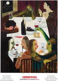 "Nicole Eisenman, ""Winter Solstice 2012 Dinner Party"" (2009). Oil on canvas, 56 × 44 in., Courtesy of the artist and Leo Koenig Inc."